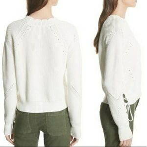Joie cotton off white sweater side lace up